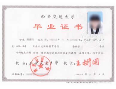 西安交通大学网络教育毕业证书样本