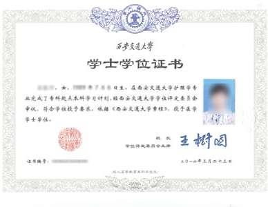 西安交通大学网络教育学位证书样本