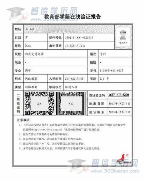 教育部学籍在线验证报告(样本)
