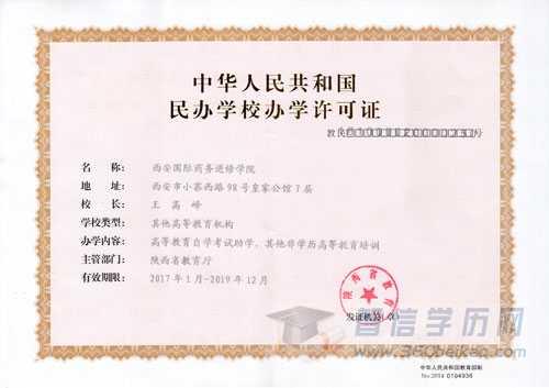 西安国际商务进修学院办学许可证